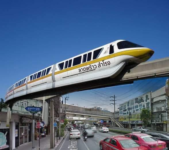 รถไฟโมโนเรล สายสีเหลือง สำโรง เทพารักษ์ ศรีนครินทร์ ลาดพร้าว จะเริ่มวิ่งปลายปีนี้แล้ว